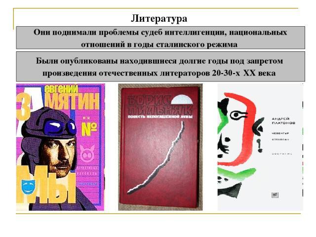 Литература Они поднимали проблемы судеб интеллигенции, национальных отношений в годы сталинского режима Были опубликованы находившиеся долгие годы под запретом произведения отечественных литераторов 20-30-х XX века