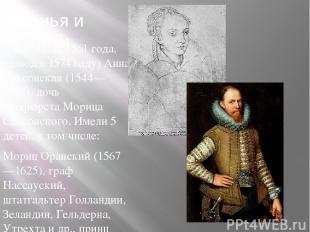 Семья и дети 2-я жена: (с1561года, развод в1574году)Анна Саксонская (1544—1