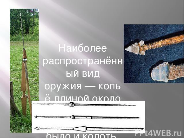 Наиболее распространённый вид оружия—копьёдлиной около 150см. Таким копьём можно было и колоть, и рубить.