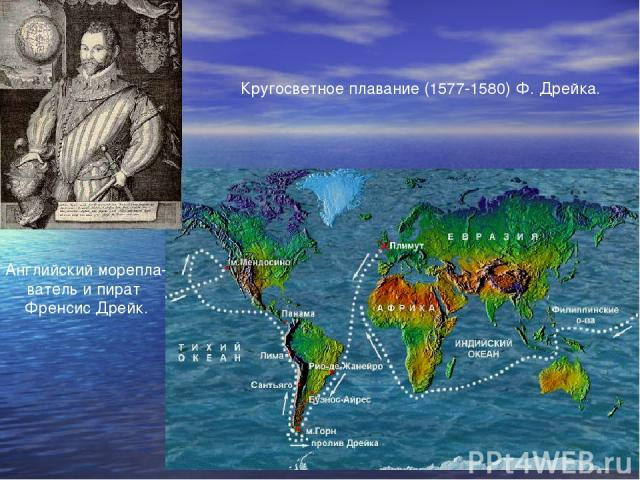 Кругосветное плавание (1577-1580) Ф. Дрейка. Английский морепла- ватель и пират Френсис Дрейк.