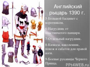 Английский рыцарь 1390 г. 5-Большой басцинет с воротником. 6-Нагрудник от пласти