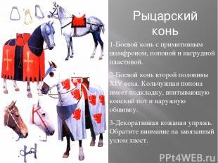 Рыцарский конь 1-Боевой конь с примитивным шамфроном, попоной и нагрудной пласти