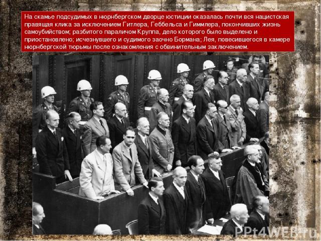 На скамье подсудимых в нюрнбергском дворце юстиции оказалась почти вся нацистская правящая клика за исключением Гитлера, Геббельса и Гиммлера, покончивших жизнь самоубийством; разбитого параличом Круппа, дело которого было выделено и приостановлено;…
