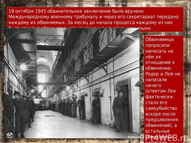 18 октября 1945 обвинительное заключение было вручено Международному военному трибуналу и через его секретариат передано каждому из обвиняемых. За месяц до начала процесса каждому из них было вручено обвинительное заключение на немецком языке. Обвин…