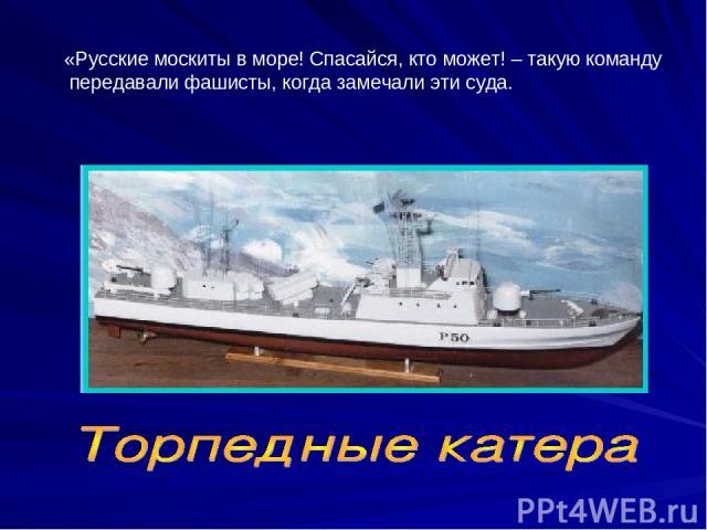 «Русские москиты в море! Спасайся, кто может! – такую команду передавали фашисты, когда замечали эти суда.