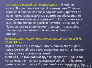 """Из письма разведчика Н.Кузнецова : """"Я люблю жизнь. Я еще очень молод. Но потому,"""