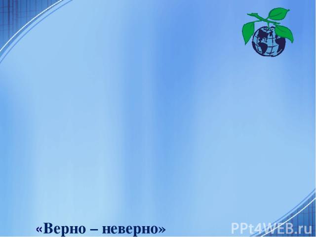 «Верно – неверно» «Моря, омывающие берега России» 1. Территорию России омывают три океана. 2. Северную часть России омывают моря Тихого океана. 3. Моря Северного Ледовитого океана являются внутренними. 4. Берингово море является самым большим морем,…