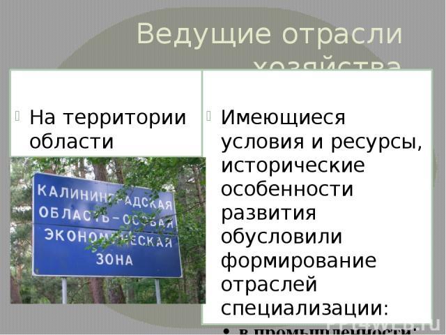Ведущие отрасли хозяйства На территории области создана свободная экономическая зона «Янтарь» Имеющиеся условия и ресурсы, исторические особенности развития обусловили формирование отраслей специализации: • в промышленности: топливная (нефтедобывающ…