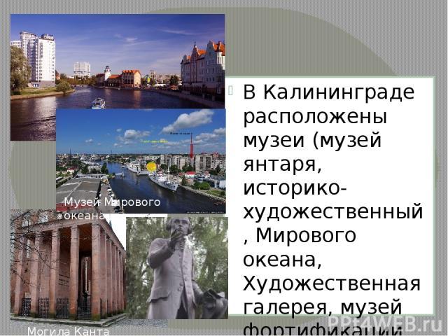 В Калининграде расположены музеи (музей янтаря, историко-художественный,Мирового океана, Художественная галерея, музей фортификации ит.д.),театры, крупные библиотеки зоопарк,ботанический сад. В центре города расположенкафедральный соборв сти…