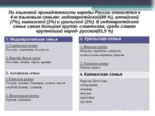 По языковой принадлежности народы России относятся к 4-м языковым семьям: индоев