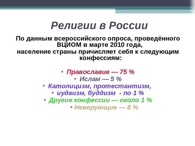 Религии в России По данным всероссийского опроса, проведённого ВЦИОМ в марте 2010 года, население страны причисляет себя к следующим конфессиям: Православие — 75 % Ислам — 5 % Католицизм, протестантизм, иудаизм, буддизм - по 1 % Другие конфессии — о…