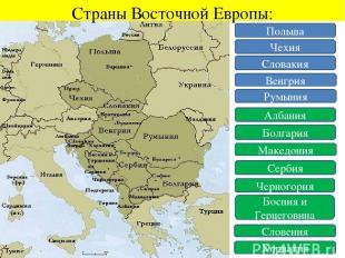 Страны Восточной Европы: Польша Чехия Словакия Венгрия Румыния Албания Болгария