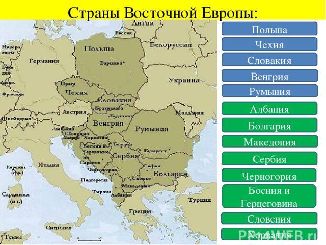 Страны Восточной Европы: Польша Чехия Словакия Венгрия Румыния Албания Болгария Македония Сербия Черногория Босния и Герцеговина Словения Хорватия