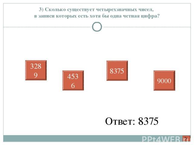 3) Сколько существует четырехзначных чисел, в записи которых есть хотя бы одна четная цифра? Ответ: 8375 3289 4536 8375 9000