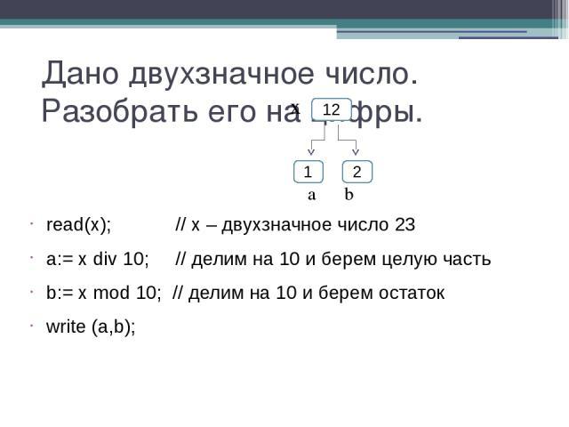 Дано двухзначное число. Разобрать его на цифры. read(x); // х – двухзначное число 23 a:= x div 10; // делим на 10 и берем целую часть b:= x mod 10; // делим на 10 и берем остаток write (a,b); 12 1 2 x а b