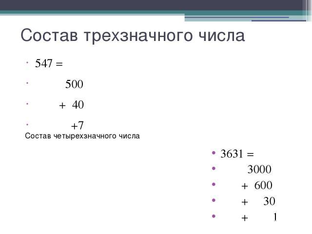 Состав трехзначного числа 547 = 500 + 40 +7 Состав четырехзначного числа 3631 = 3000 + 600 + 30 + 1