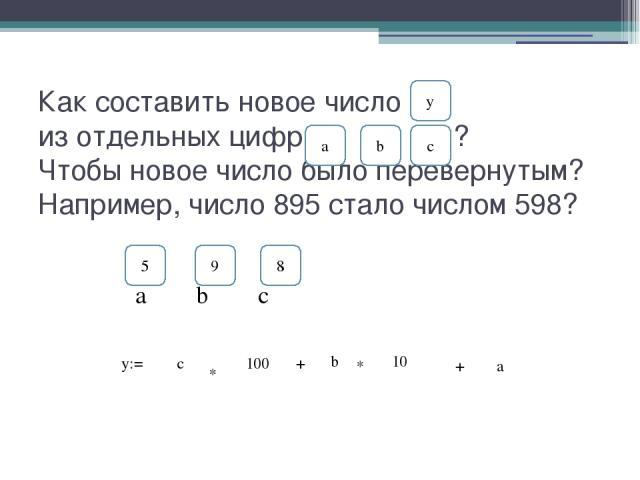 Как составить новое число из отдельных цифр ? Чтобы новое число было перевернутым? Например, число 895 стало числом 598? a b y y:= с * 100 + b с * 10 + a 9 8 a b c 5