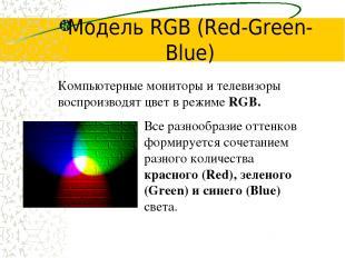 Модель RGB (Red-Green-Blue) Все разнообразие оттенков формируется сочетанием раз
