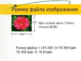 Размер файла изображения При глубине цвета 3 байта (модель RGB) Размер файла = 1
