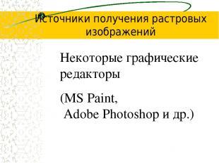 Источники получения растровых изображений Некоторые графические редакторы (MS Pa