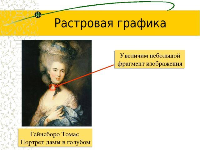 Увеличим небольшой фрагмент изображения Растровая графика Гейнсборо Томас Портрет дамы в голубом
