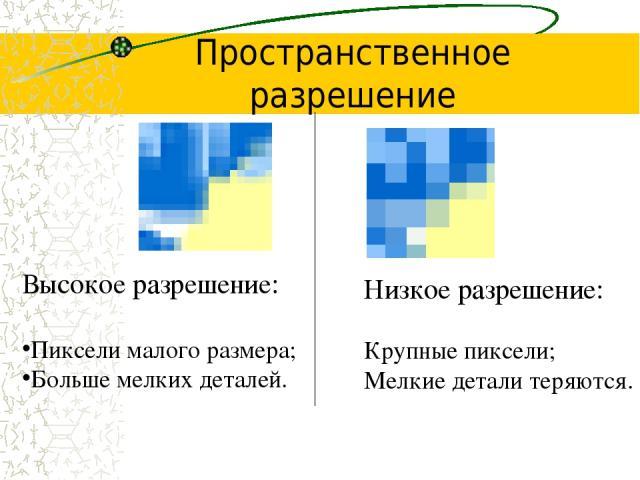 Пространственное разрешение Высокое разрешение: Пиксели малого размера; Больше мелких деталей. Низкое разрешение: Крупные пиксели; Мелкие детали теряются.