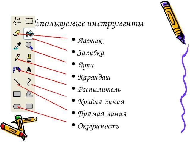 Используемые инструменты Ластик Заливка Лупа Карандаш Распылитель Кривая линия Прямая линия Окружность