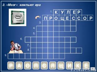 К У Л Е Р Р 2. «Мозг» компьютера А О П С Л Ц И К Е П Р О Ц Е С С О Р 1. 2. 3. 4.