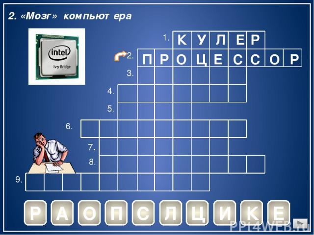 К У Л Е Р Р 2. «Мозг» компьютера А О П С Л Ц И К Е П Р О Ц Е С С О Р 1. 2. 3. 4. 5. 6. 7. 8. 9.