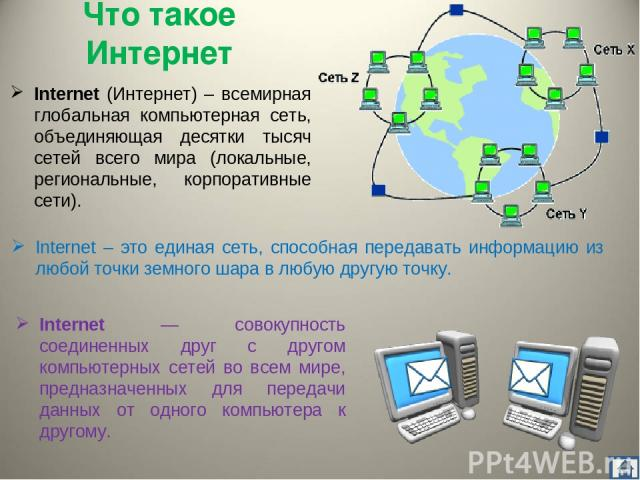 Что такое Интернет Internet (Интернет) – всемирная глобальная компьютерная сеть, объединяющая десятки тысяч сетей всего мира (локальные, региональные, корпоративные сети). Internet – это единая сеть, способная передавать информацию из любой точки зе…