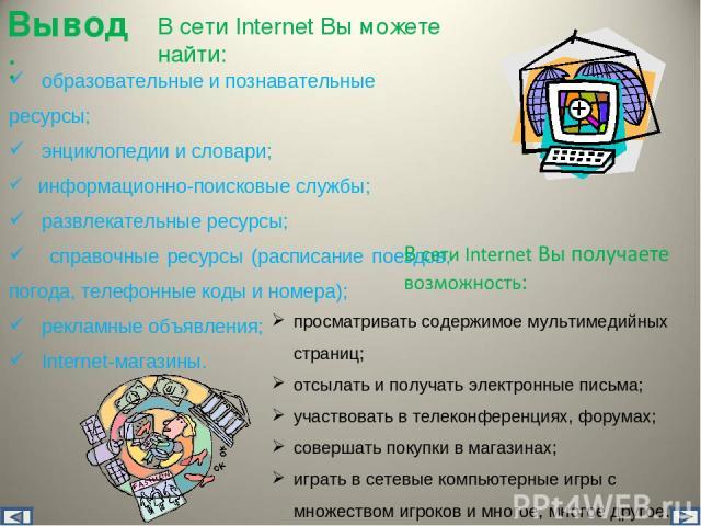 В сети Internet Вы можете найти: образовательные и познавательные ресурсы; энциклопедии и словари; информационно-поисковые службы; развлекательные ресурсы; справочные ресурсы (расписание поездов, погода, телефонные коды и номера); рекламные объявлен…