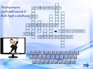 и н т Информация, представленная в виде букв алфавита е к с т о в я а я и ф о р