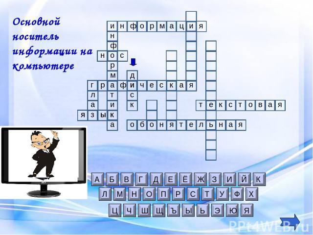 и н я ы з к д и к с Основной носитель информации на компьютере я и ф о р м а н и ц н с о я к ы о б н я т л е н ь я а е к с т о в я а т о л а г ф н р м а т и а р ф я а к с ч е и