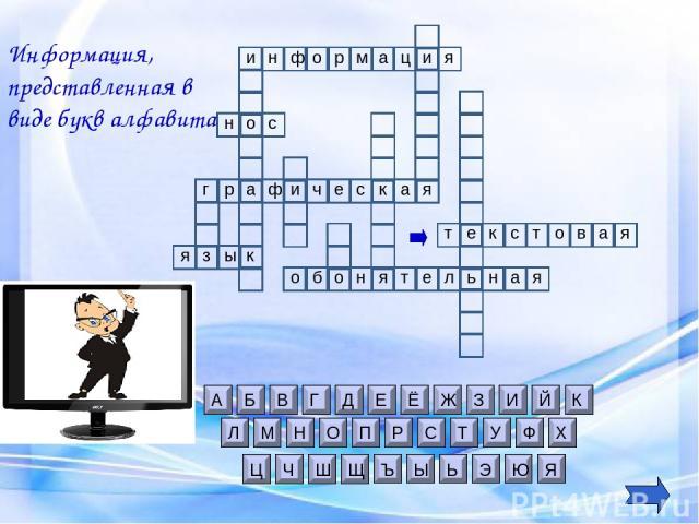 и н т Информация, представленная в виде букв алфавита е к с т о в я а я и ф о р м а н и ц р а ф г ч е и я а с к я к ы з о б н я т л е н ь я а о н с о