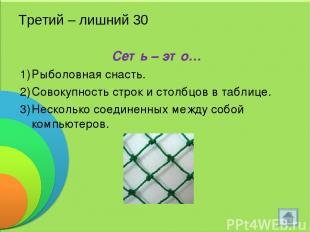 Третий – лишний 30 Сеть – это… Рыболовная снасть. Совокупность строк и столбцов