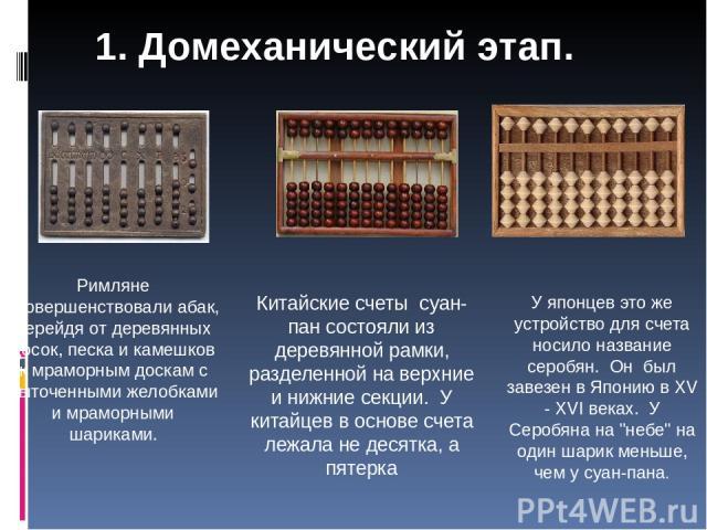 Римляне усовершенствовали абак, перейдя от деревянных досок, песка и камешков к мраморным доскам с выточенными желобками и мраморными шариками. Китайские счеты суан-пан состояли из деревянной рамки, разделенной на верхние и нижние секции. У китайцев…