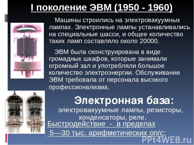 Машины строились на электровакуумных лампах. Электронные лампы устанавливались на специальные шасси, и общее количество таких ламп составляло около 20000. ЭВМ была сконструирована в виде громадных шкафов, которые занимали огромный зал и употребляли …