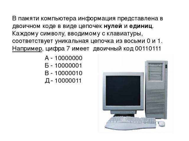 В памяти компьютера информация представлена в двоичном коде в виде цепочек нулей и единиц. Каждому символу, вводимому с клавиатуры, соответствует уникальная цепочка из восьми 0 и 1. Например, цифра 7 имеет двоичный код 00110111 А - 10000000 Б - 1000…