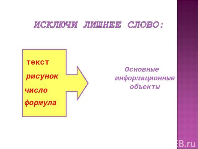 Основные информационные объекты текст рисунок число формула