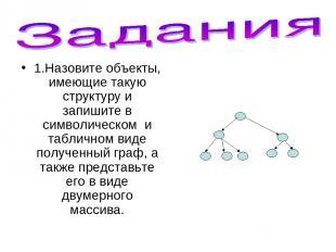 1.Назовите объекты, имеющие такую структуру и запишите в символическом и табличн