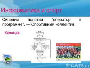 """Информатика и спорт Синоним понятия """"оператор в программе"""". — Спортивный коллект"""