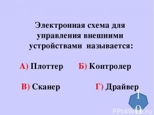 Электронная схема для управления внешними устройствами называется: А) Плоттер Б)