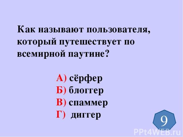 Как называют пользователя, который путешествует по всемирной паутине? А) сёрфер Б) блоггер В) спаммер Г) диггер 9