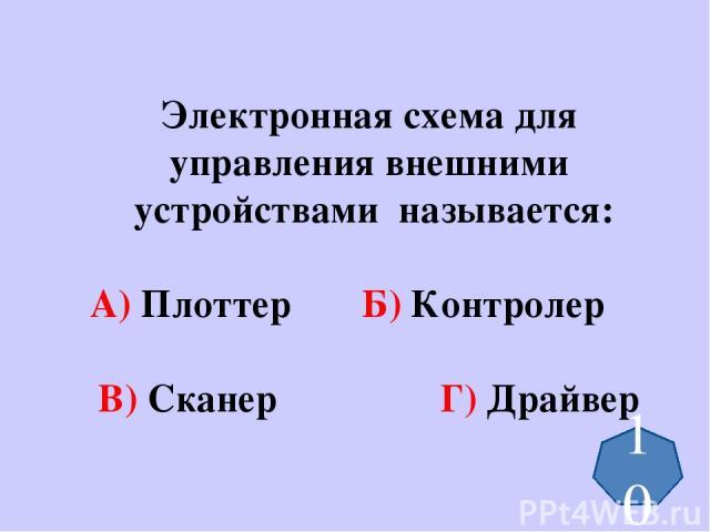 Электронная схема для управления внешними устройствами называется: А) Плоттер Б) Контролер В) Сканер Г) Драйвер 10
