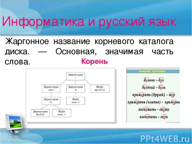 Информатика и русский язык Жаргонное название корневого каталога диска. — Основная, значимая часть слова. Корень