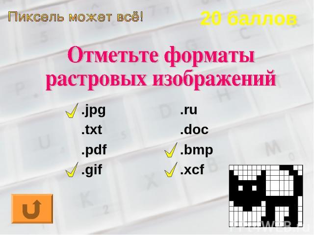 20 баллов .jpg .txt .pdf .gif .ru .doc .bmp .xcf