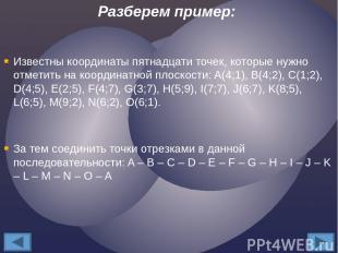 Известны координаты пятнадцати точек, которые нужно отметить на координатной пло