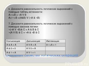 Основные свойства логических операций 6. Докажите равносильность логических выра