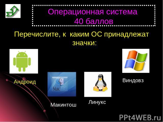 Операционная система 40 баллов Перечислите, к каким ОС принадлежат значки: Андроид Макинтош Линукс Виндовз
