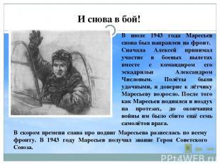 И снова в бой! В июле 1943 года Маресьев снова был направлен на фронт. Сначала А